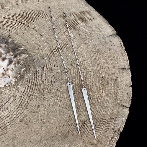 Silver Spike Ear Threaders