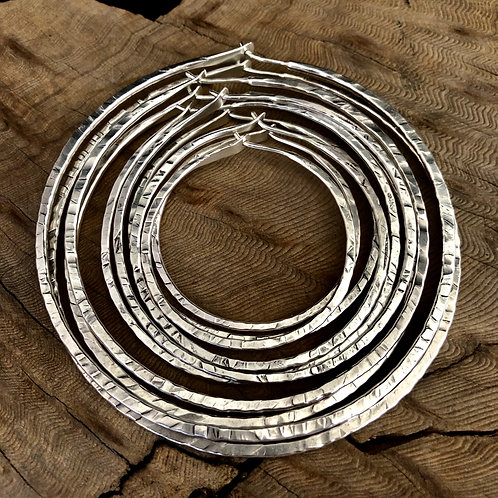 "4"" Silver Round Textured Hoops - WHOLESALE"