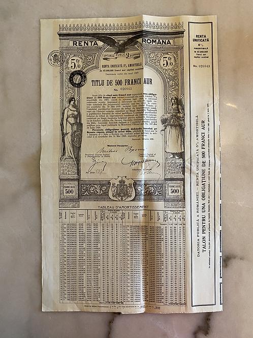 Renta Romana, 500 Gold Francs, 5%, 1929