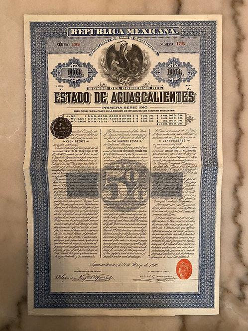 República Mexicana - Estado de Aguascalientes, $100 Pesos, 5%, 1910