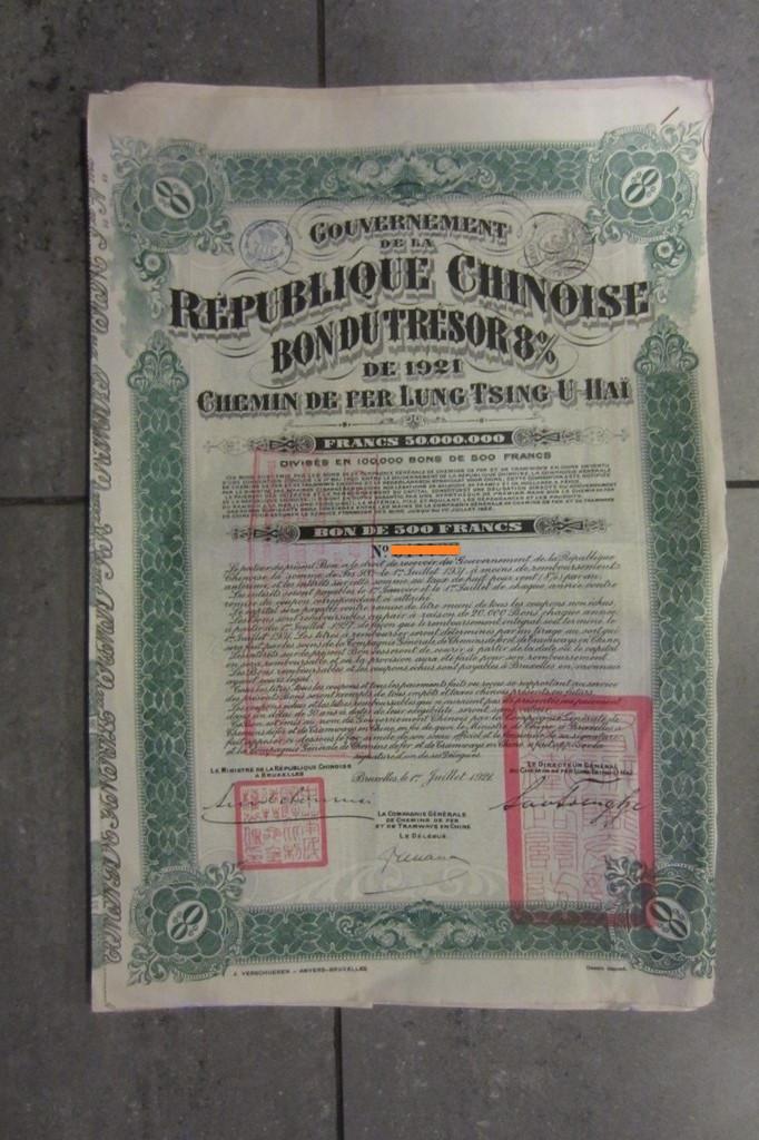 Lung Tsing-U-Hai Railway Bond, 8%, 1921