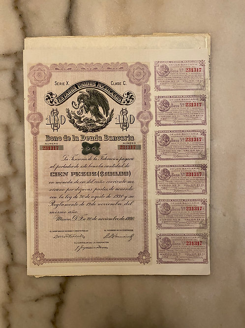 Bono de la Deuda Bancaria - Serie X / Clase C. $100 Pesos, 1930