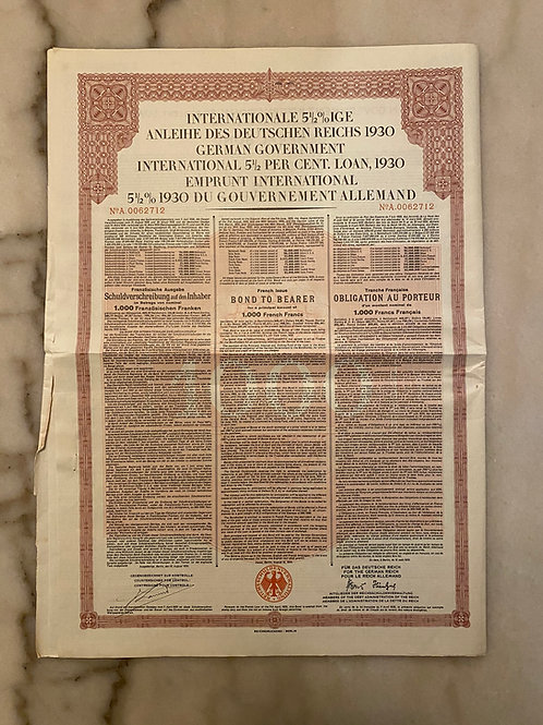 German Government International Bond, 5 1/2% Loan, $1,000 French Francs, 1930