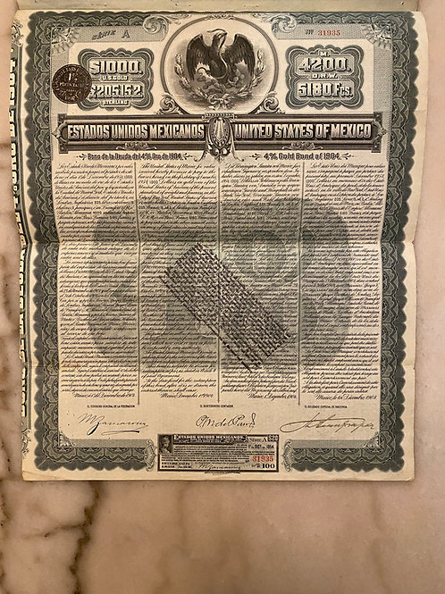 United States of Mexico - 4% Gold Bond of 1904, $1,000 U.S. Gold
