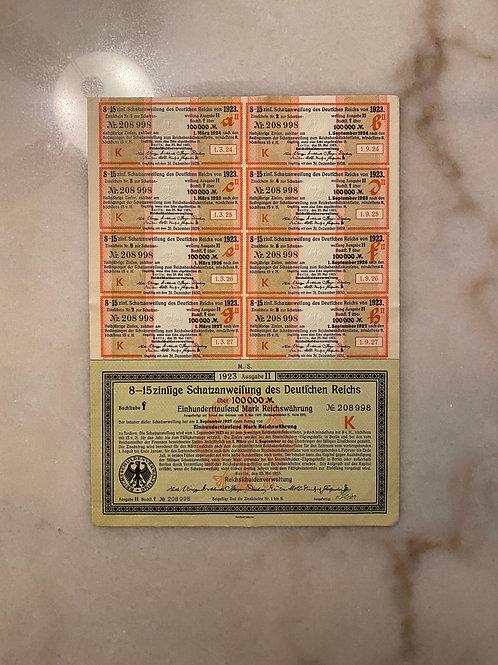 German Government Treasury Bond, 100,000 Mark, Series F, Letter K, 1923