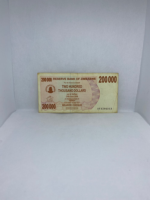 Zimbabwe Banknote, $200 Thousand Dollars - Bearer Cheque, 2007