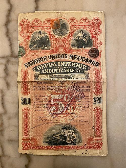 Pink Lady Bond: Deuda del 5%, Letra H, $100 / £20, 1898