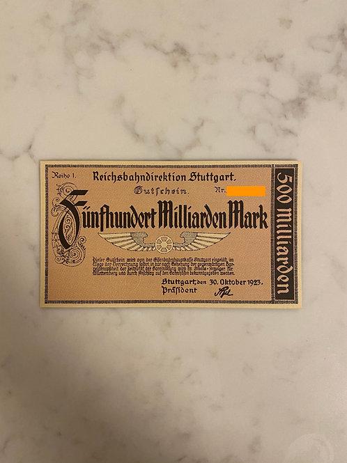Reichsbahndirektion, $500 Milliarden Mark, 1923