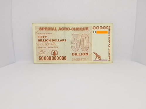 Zimbabwe Banknote, $50 Billion Dollars, 2008 - Special Agro-Cheque / Used