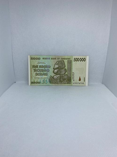 Zimbabwe Banknote, $500 Thousand Dollars, 2008