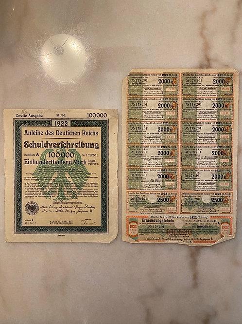 Anleihe des Deutfchen Reichs Schuldverfchreibung - 100,000 Mark Bond, 1922