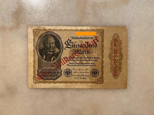 Reichsbanknote of $1,000 Mark,1922