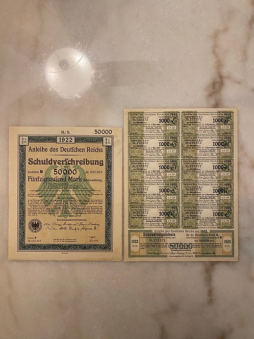 Anleihe des Deutfchen Reichs Schuldverfchreibung - 50,000 German Mark Bond, 1922