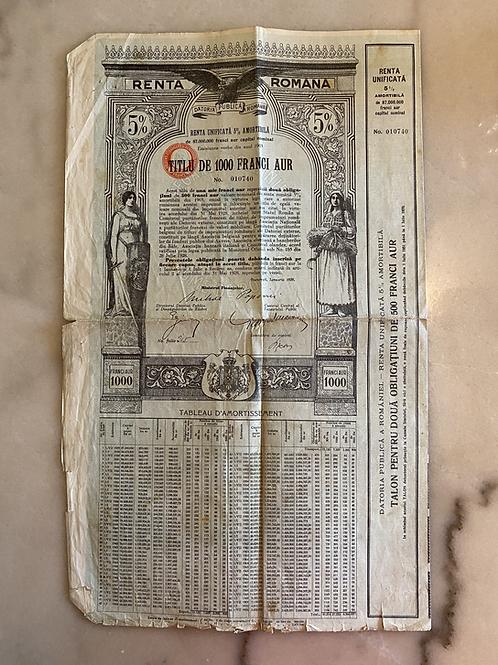 Renta Romana, 1,000 Gold Francs, 5%, 1929