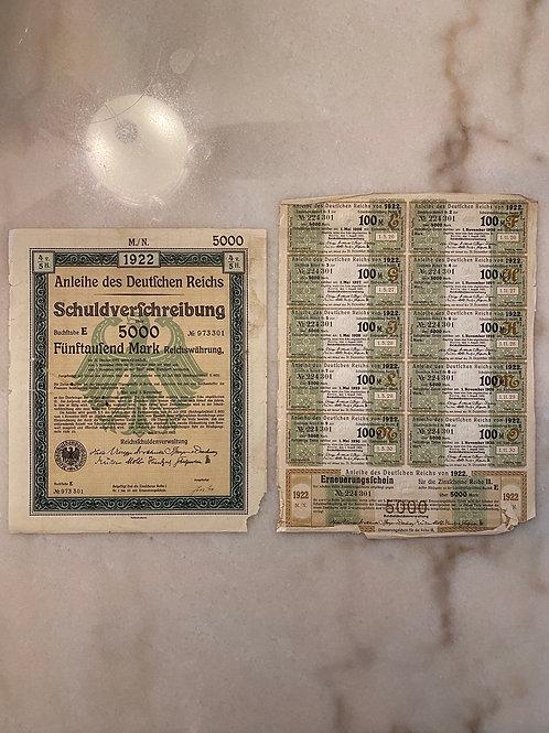 Anleihe des Deutfchen Reichs Schuldverfchreibung - 5,000 German Mark Bond, 1922