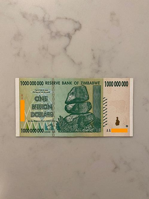 Zimbabwe Banknote of $1 Billion Dollars, 2008