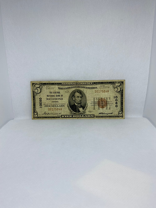 National Currency: $5 Dollars, 1929