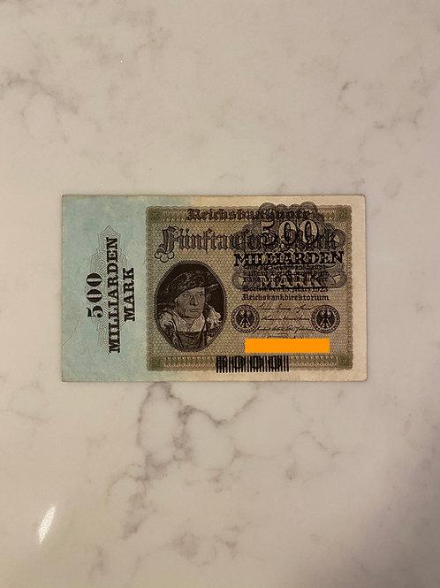 Reichsbanknote of $500 Milliarden Mark, 1923