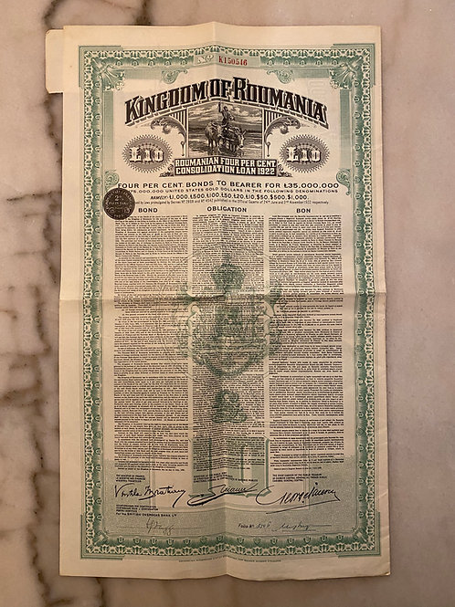 Kingdom of Roumania, 4% Gold Consolidation Loan, £10, 1922