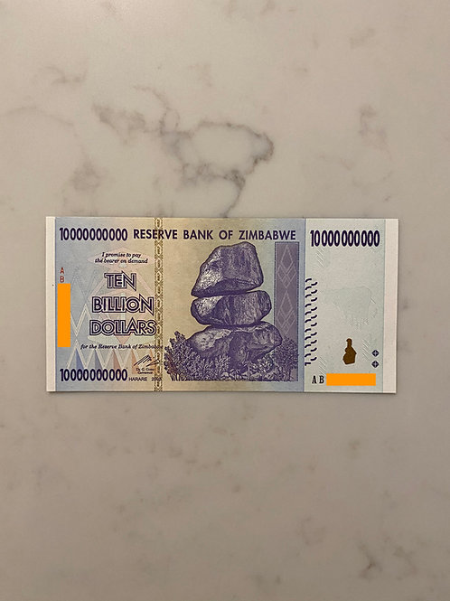 Zimbabwe Banknote of $10 Billion Dollars, 2008
