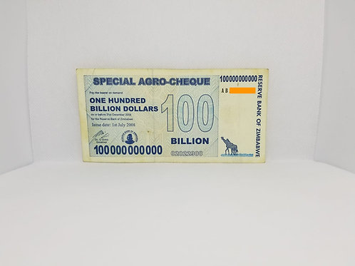 Zimbabwe Banknote, $100 Billion Dollars, 2008 - Special Agro-Cheque