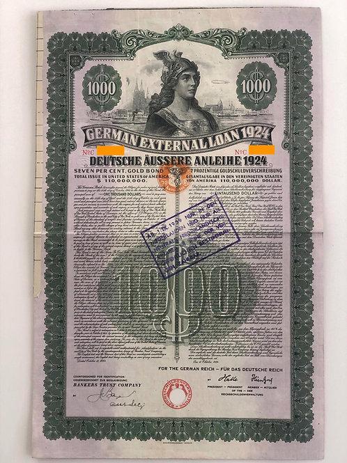 German External Loan, 7% Gold Bond - $1,000, 1924, with 19 coupons