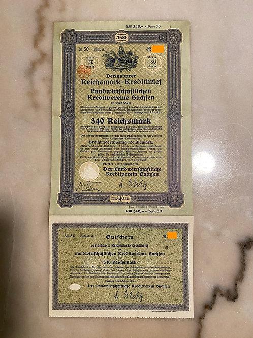 340 Reichsmark Bond, 1930