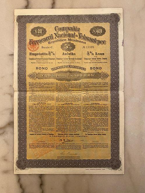Compañía del Ferrocarril Nacional de Tehuantepec, Serie C, 5% in Gold, £20, 1904