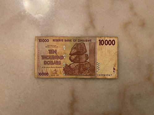 Zimbabwe Banknote, $10,000 Dollars, 2008