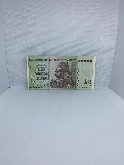 Zimbabwe Banknote, $50 Trillion Dollars, AA Series, 2008