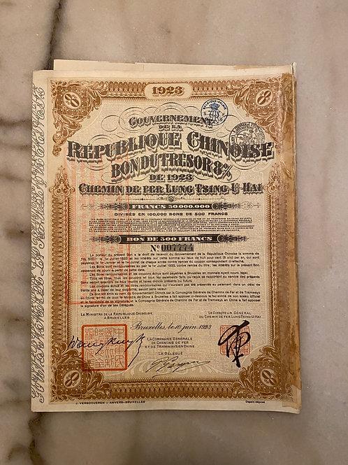 Lung-Tsing-U-Hai Railway, 500 Francs, 8%, 1923