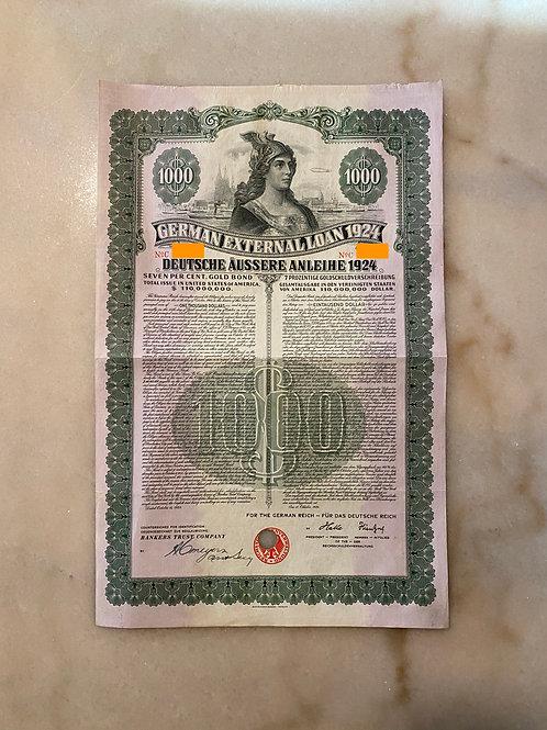 German External Loan, 7% Gold Bond - $1,000, 1924
