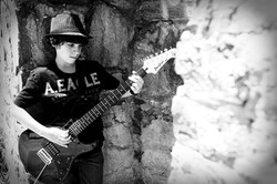 Bar Mitzvah Portrait Black and White Boy and Guitar