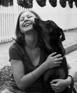Bat Mitzvah Portrait Atlanta Girl and black dog
