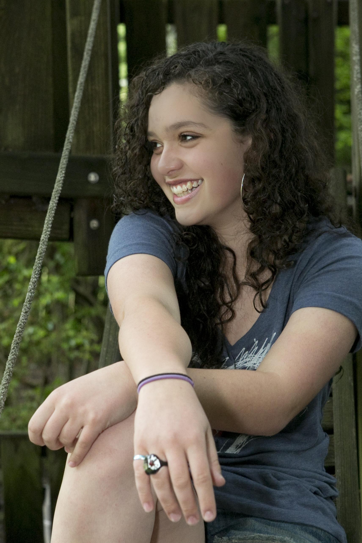 Smiling Bat Mitzvah Portrait Girl Hands Crossed