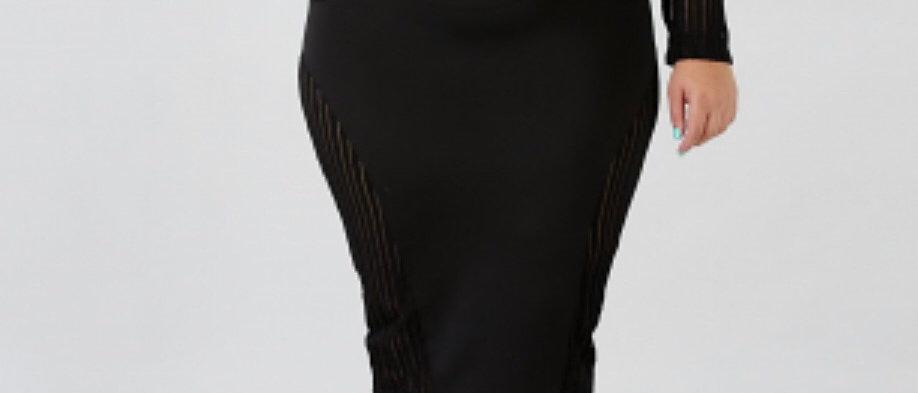 Black Ice Body-Con  Sheer Dress