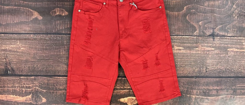 Men Red Distressed Shorts
