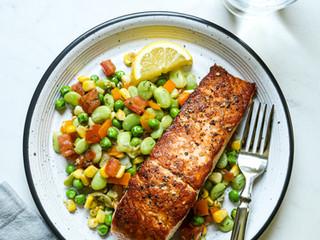 Fresh Pea Succotash with Seared Salmon
