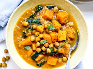 Squash and White Bean Stew with Roasted Chickpeas and Kale