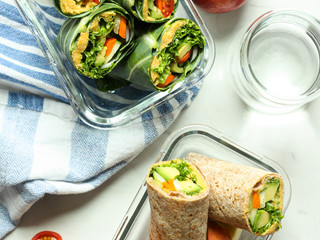 Crunchy Vegetable Wraps with Butternut Squash Hummus