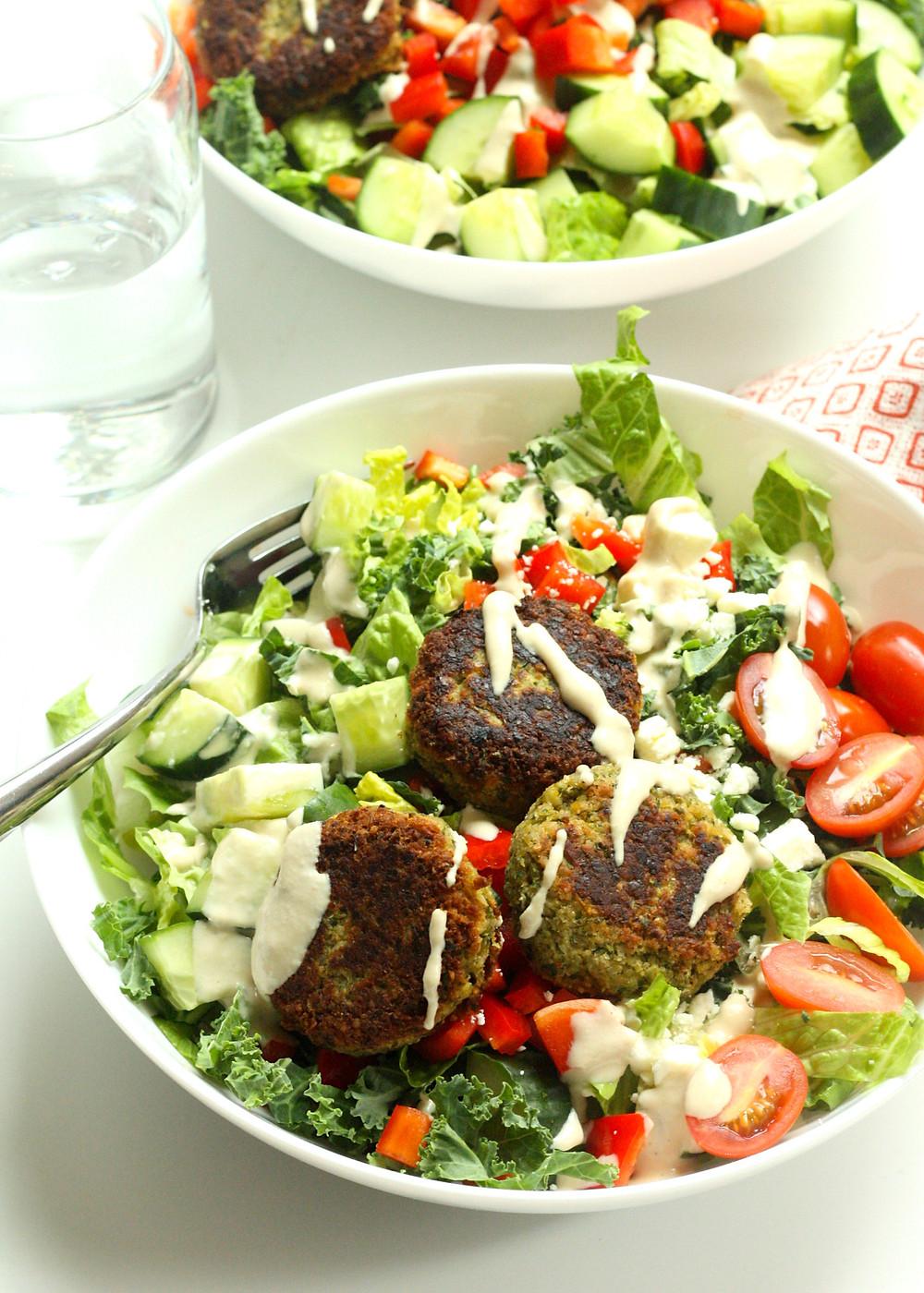 Eggplant Falafel Salad Bowls with Tahini Sauce