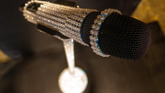 Diamond Encrusted Microphone Prop