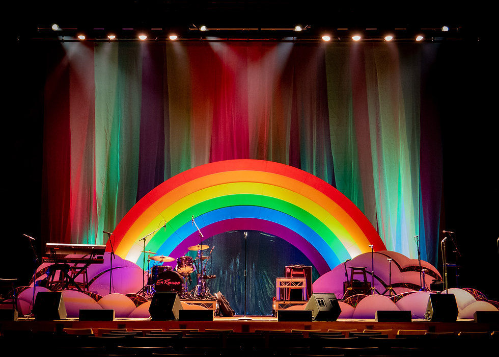 Set Construction Melbourne | Theatrical Set Design | Rainbow and Cloud shaped theatre flats and colourful theatrical curtain by Rightside