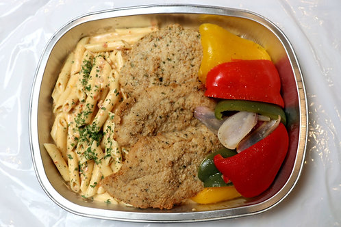 Fresh Breaded Chicken with Sundried Tomato Penne & Veggies