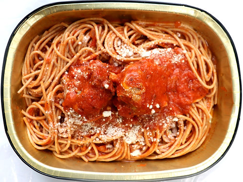 Fresh Whole Wheat Spaghetti with Beef & Pork Meatballs