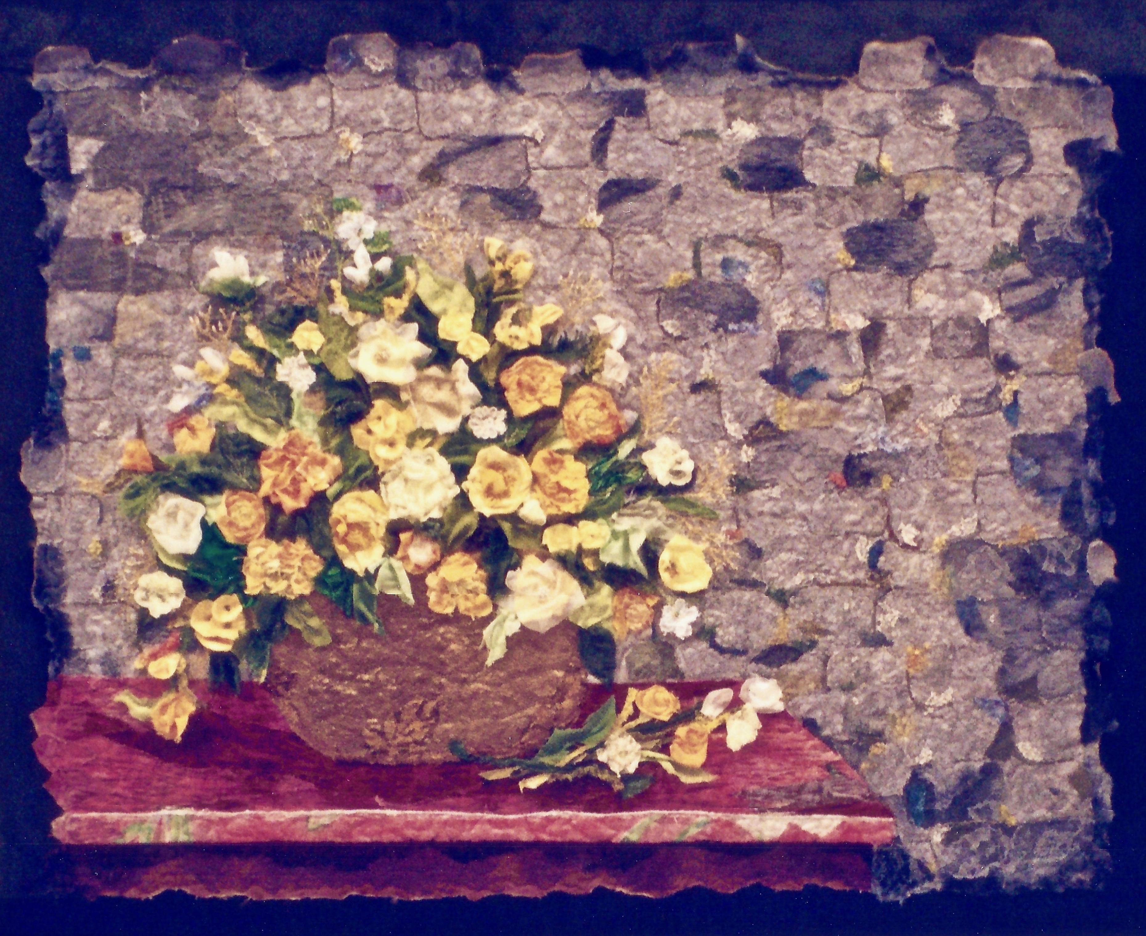 Brass Vase, Stone Wall and Flowers