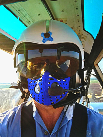 Cropdusting with a gas mask