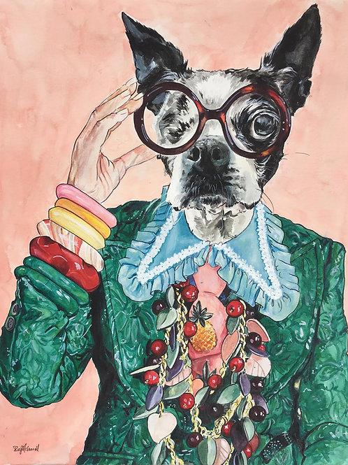 Iris Apfel as a One Eyed Boston Terrier!