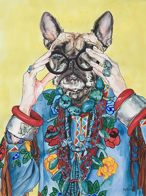 Iris Apfel as a French Bulldog!