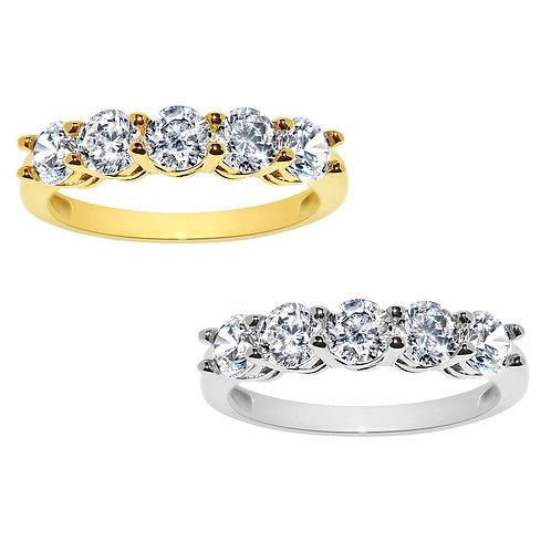14k Yellow or White Gold 1 7/8ct TGW Round-cut Diamonette 5-Stone Ring